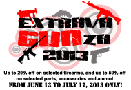Gun store in Metro Manila, Philippines. Licensed Firearms and Ammunition dealer in the Philippines. Guns for sale. The Extravagunza Sale 2013.