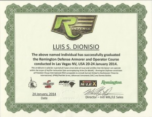 Remington Defense Certificate for Luis S. Dionisio