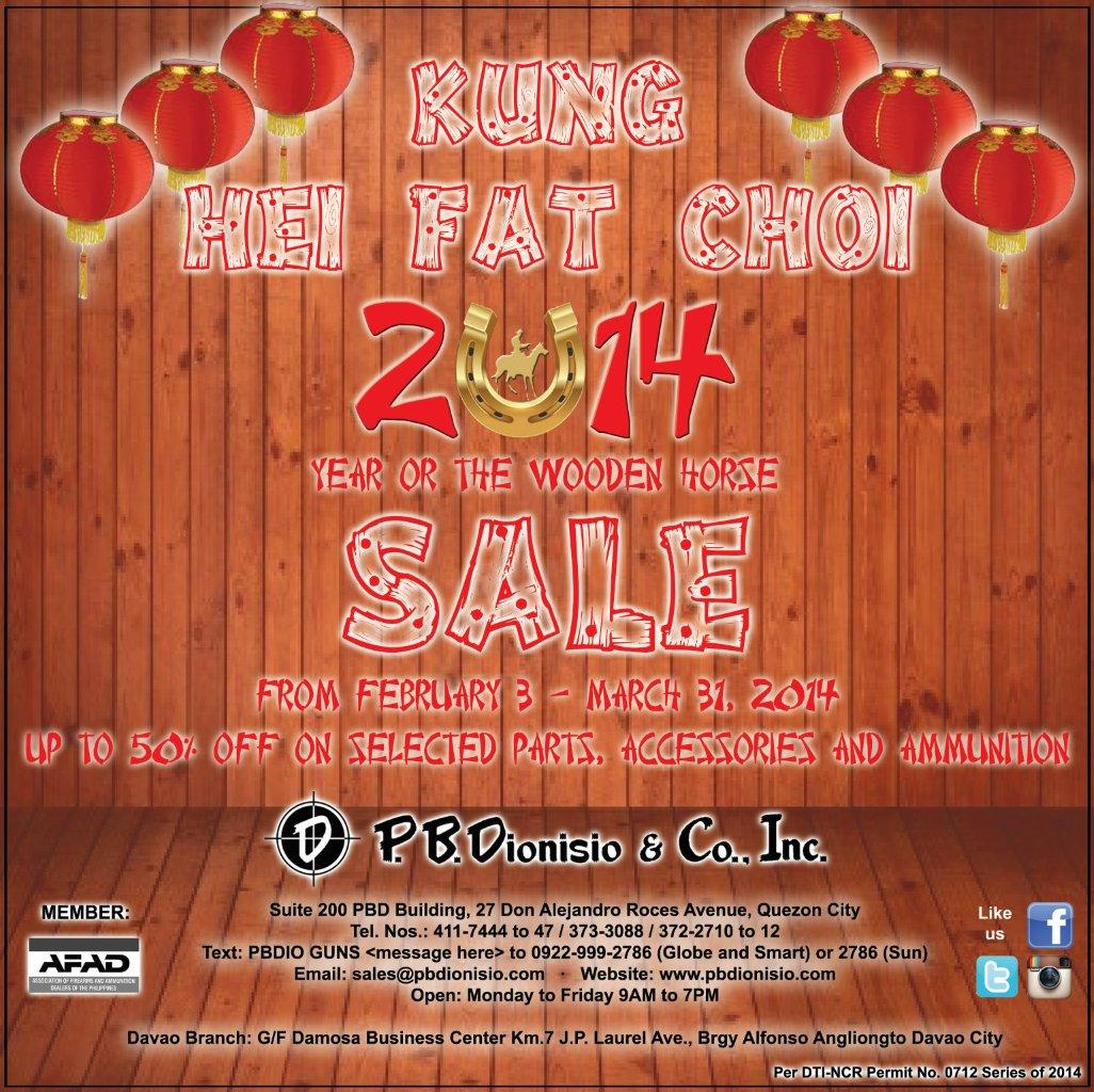 P.B.Dionisio & Co., Inc. - Pioneer in Firearms and Ammunitions in the Philippines - Chinese New Year Sale 2014