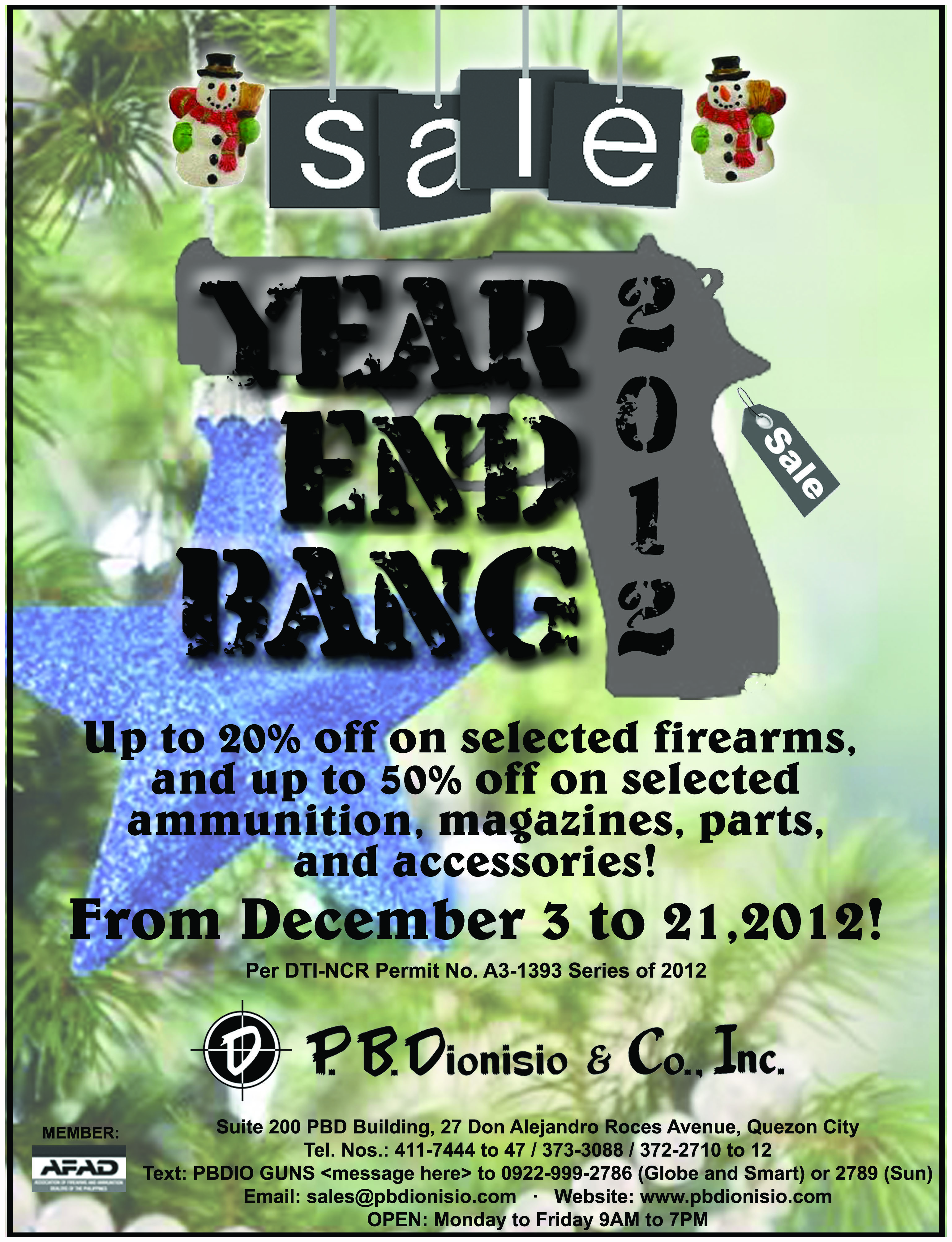 Gun store in Metro Manila, Philippines. Licensed Firearms and Ammunition dealer in the Philippines. Guns for sale. Year End Bang 2012.