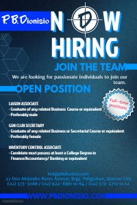 PBD Now Hiring POSTER picture